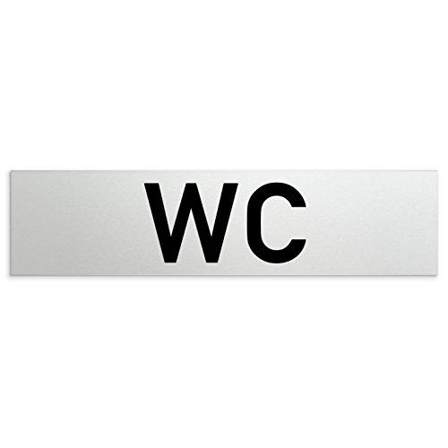 Kinekt3d Leitsysteme Aluminium WC - Toiletten Türschild WC 160 x 40 x 1,5mm (Oberfläche veredelt) • Selbstklebend