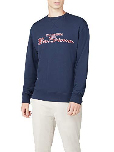 Ben Sherman Herren Classic Signature Logo Crew Neck Sweatshirt Pullover Gr. XXXXL , dunkles marineblau
