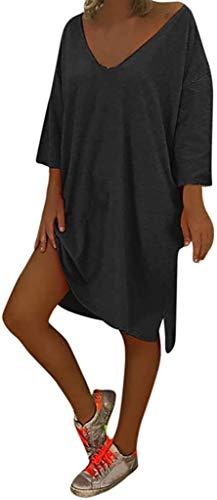HX fashion Tunika bluzki sukienki damskie letnie na co dzień koronkowe wykończenie dekolt w serek sukienka plażowa monochromatyczna po prostu wygodna w czasie wolnym do kolan letnie sukienki plus size