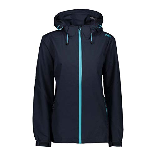 CMP Damen Regenjacke Woman Rain Racket Zip Hood 30X9766 Black Blue 38
