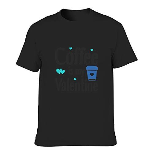 Camiseta de algodón para hombre, diseño con texto en alemán 'Kaffee ist Mein San Valentín' negro XXXL