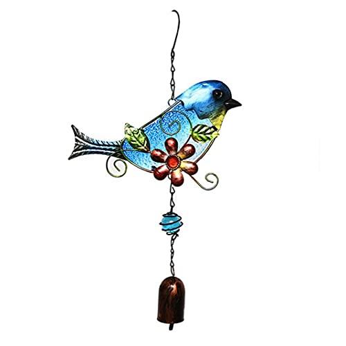 Colgando Pájaro Campana Hierro Pájaro Viento Chime Campana Adornos Jardín Animales Colgante Azul, Materiales De Fundición