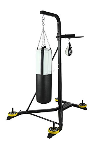 FIT4YOU Fitness Heavy Duty 2 Way Free Standing Boxing Punch Bag Stand Hanging Frame Training Exercise Platform Station Gym BSF01 Black
