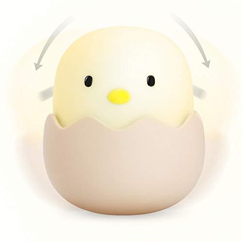 Nachtlicht für Kinder, LED Baby Nachtlicht mit Touch-Sensor, Dimmer Niedliche Huhn Lampe für Kinderzimmer Sicher ABS Silikon Nachttisch Baby Fütterung - Warmweiß