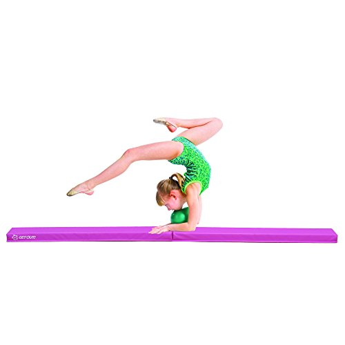 Get Out! Folding Foam Floor Balance Walking Beam in Pink – Foldable 9ft Beam for Kids Gymnastics at Home or Gym