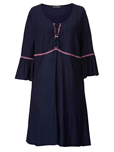 Sara Lindholm Kleid mit Zierbändern Marineblau