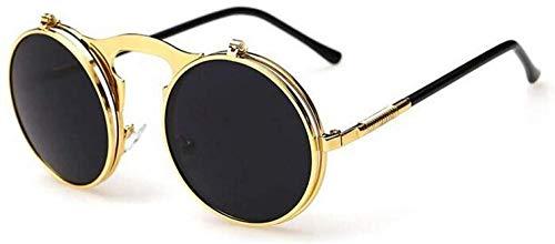 ZYIZEE Gafas de Sol Gafas de Sol Steampunk para Hombre Gafas Redondas Gafas de Sol Dobles con Tapa Gafas de Sol Circulares para Hombre para Conducir con Espejo Retro-Gold_Black