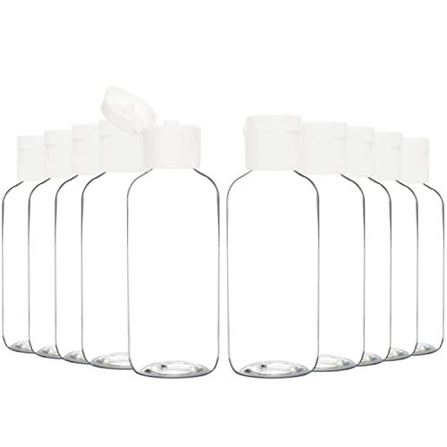 Youngever 24 botellas vacías de plástico con tapa de disco de 2 onzas, botellas cosméticas rellenables, envases para champú, jabón líquido corporal, loción, crema