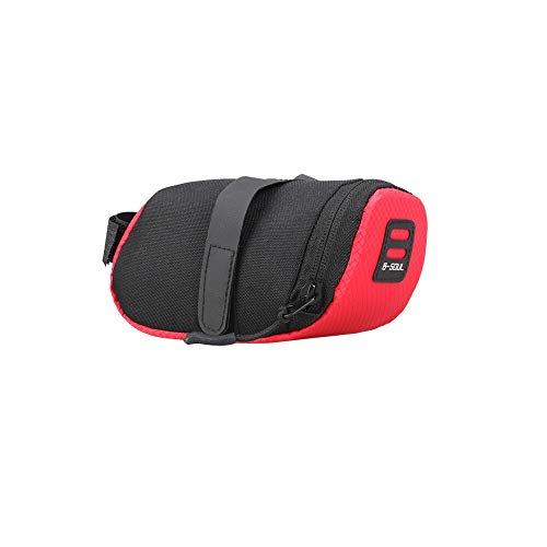 LIANYG Rear Rack Bag 3 Color Nylon Bicycle Bag Bike Waterproof Storage Saddle Bag Seat Cycling Tail Rear Pouch Bag Saddle Accessories Saddle Bag (Color : Red, Size : M)