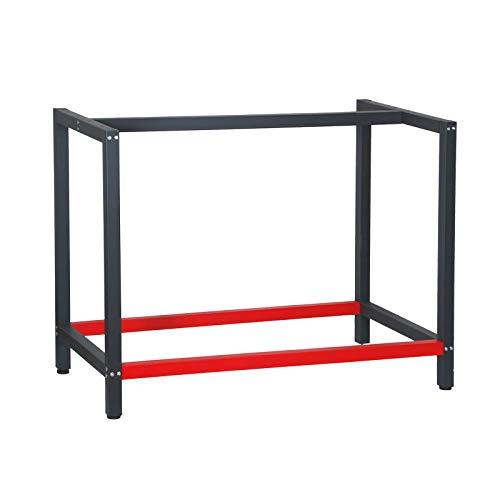 Werkbank Gestell 100x57x81 cm aus Stahl Werkbankgestell Anthrazit Rot Tischgestell Werkstatt