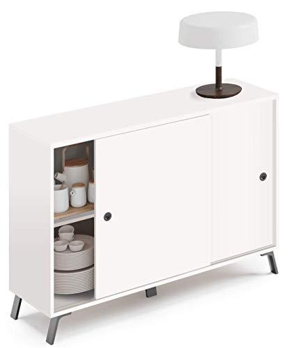 Miroytengo Mueble aparador Kamet 2 Puertas correderas Color Blanco salón Comedor Armario Auxiliar 87x120x40 cm