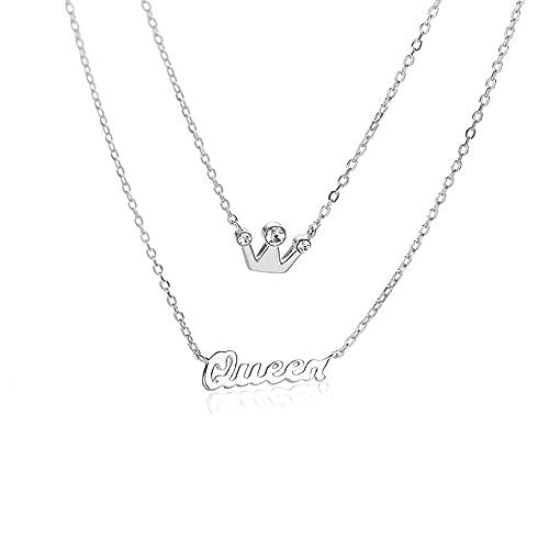 YDJGY Collar con Colgante de Corona con Letras,Cadena de Clavícula de Hermana,Gargantilla Personalizada Delicada Hecha a Mano,Regalo para Mujer