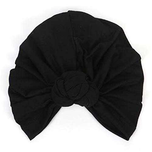 Lunji Turban Femme Cotton Rétro Bonnet Chimio Bonnet de Nuit (Noir)