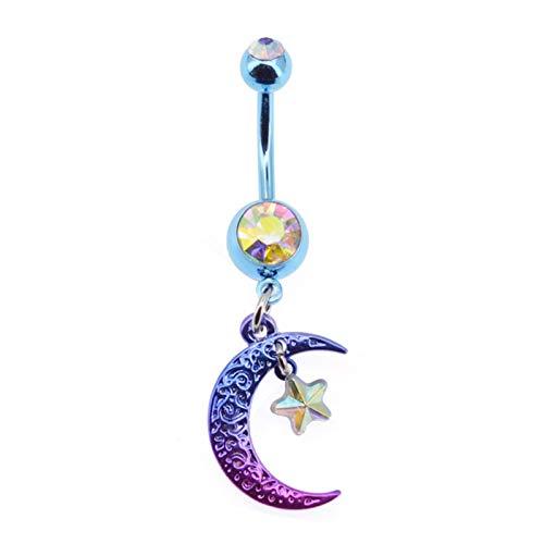 CHEN-C Summer Bikini Belly Botton Anillos 14g Rainbow Moon Star CZ Ombligo Anillo Piercing In Body Jewelry Pendientes para Joyas de Ombligo (Metal Color : Purple)
