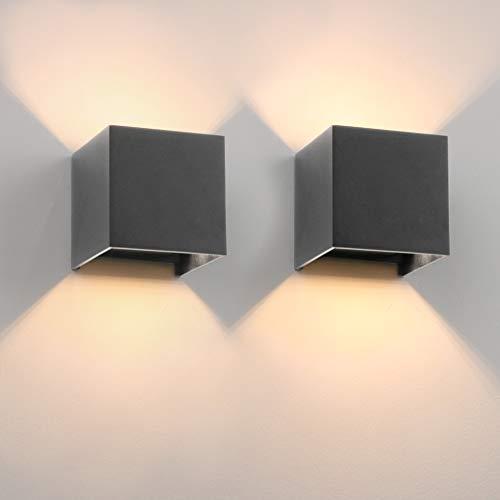 K-Bright 9W Wandleuchte Innen/Außen 2 Stücke Außenwandleuchte 3000K Warmweiß Wandbeleuchtung Mit Einer Ersetzbaren G9 Birne IP54 Wasserdichte Wandlampe (Dunkelgrau 3000K)