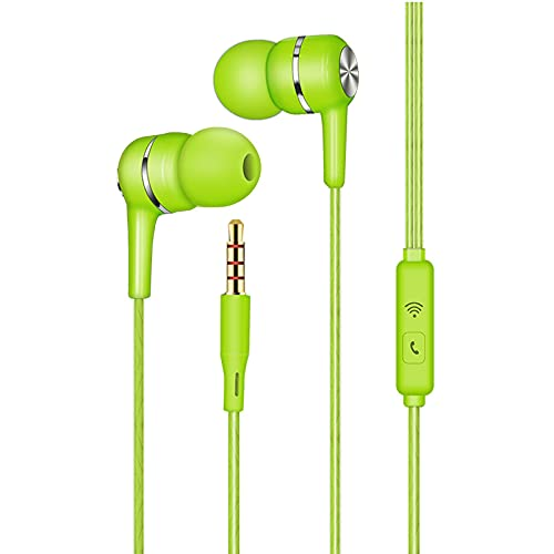 Trailrest Auriculares In Ear, Auriculares con Cable y Micrófono Headphone, Sonido Estéreo, para Teléfonos Móviles, Tabletas (Verde)