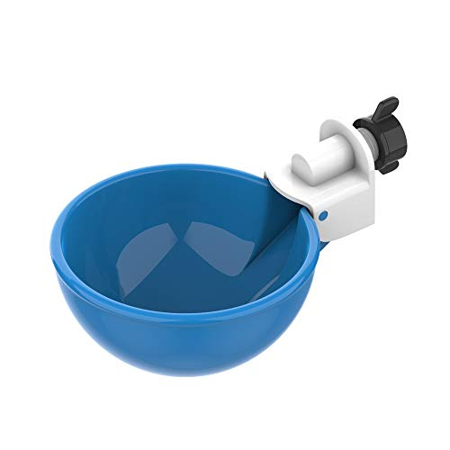 (5 Pack) Lil' Clucker Large Automatic Filling Poultry Waterer Cups | Auto Watering Drinker System for Chickens, Ducks, Geese, Turkeys etc. | Water Feeder Kit (Blue)