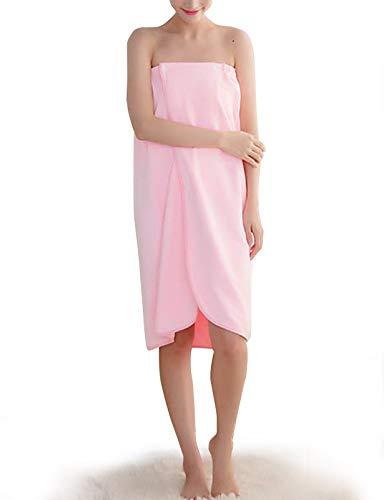 Alicare Damen Spa Wickeltuch mit Druckknöpfen in Reiner Farbe 31 Rose