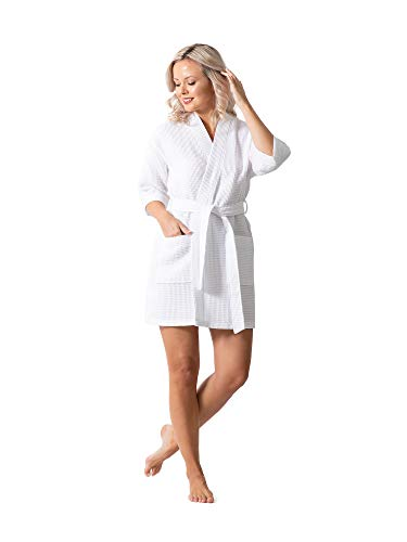 Lightweight Waffle Weave Bath, Spa & Bridesmaids Kimono Short Robes (White, L)
