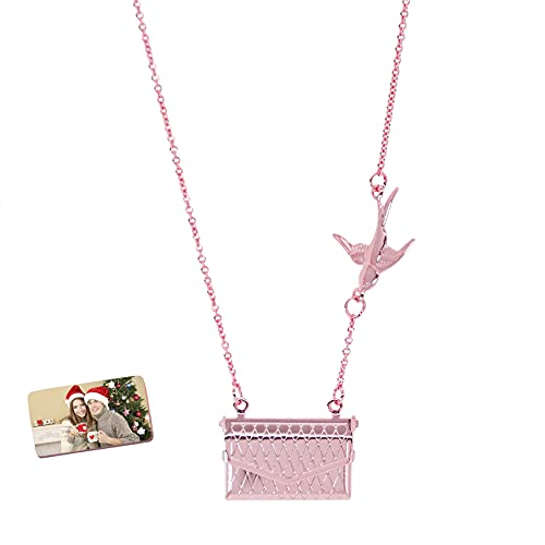 Collar De Medallón Grabado Personalizado Collar De Sobre Personalizado Con Foto Collar Con Colgante Lindo Cumpleaños Único Collar De Aniversario De Boda Pulsera Para Mujer Niña(Oro rosa 18')
