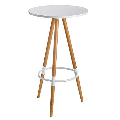 Esta mesa de bar de madera y metal es de color blanco. Dimensiones: Diámetro 60 cm y Alto 105 cm - Montaje fácil (instrucciones incluidas). Materiales: Madera de Haya - Metal. Color: BLANCO. Utilizable para comer de pie en una esquina o para desayuna...
