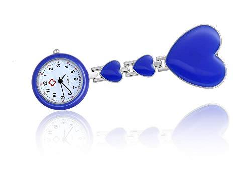 flqwe Schwesternuhr Quarz Taschenuhr,Krankenschwesterspezifische Brustuhr, herzförmige Quarzuhr, blau,Schwesternuhr Quarz