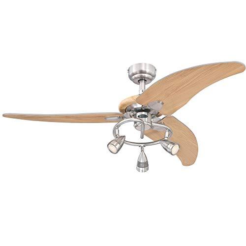 Westinghouse Lighting 7235700 Elite Ventilador de techo para interiores con luz, 48 pulgadas, níquel cepillado