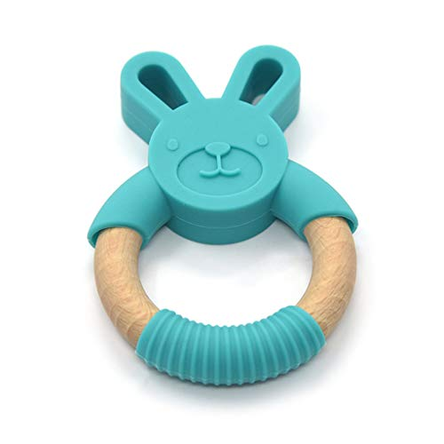 JIACUO Newborn Kids Bite Toy Infants Accesorios de enfermería Baby Teether Cartoon Rabbit Shape Silicone Wooden Ring Toys Light Pink