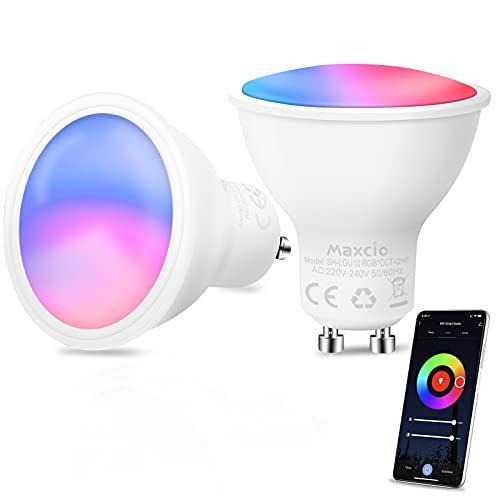 Maxcio Ampoule GU10 Connectée,Ampoule Wifi Compatible avec Alexa,Google Home,Ampoule Intelligente 5W RGB+CW Blanc Froid Chaud,Multicolore,Ampoule Spot LED Dimmable APP Contrôle,Aucun Hub Requis 2Packs