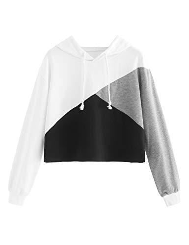 Romwe Women's Color Block Cut and Sew Panel Crop Hoodie Sweatshirt Black_Improved M