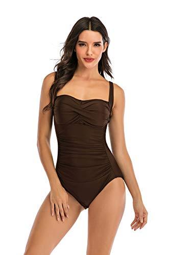 Bathing Suits for Women Tummy Control,Fashion One-Piece Swimsuit Multicolor Halter Bikini Set (Brown,XXXL)