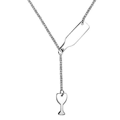 DIAOSI Titanium staal wijnglas fles ketting sieraden, staal om creatieve persoonlijkheid kleine en prachtige hanger ketting 6.8 * 13.7 * 40.5mm