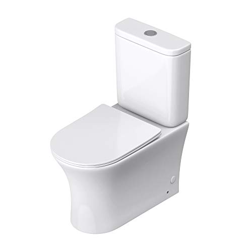 doporro Design Stand-WC Toilette Aachen304T bodenstehend Tiefspüler mit Silent-Close spülrandlose Toilette spülrandloses WC