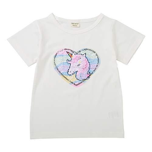 Camisetas Lentejuelas Mágico Reversibles Algodón Manga Corta Arriba Niño Niña(110, O