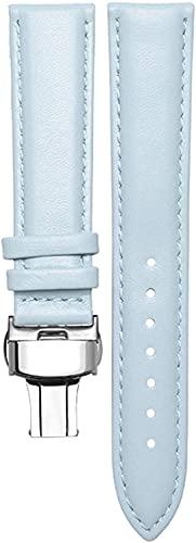 Pulsera de cuero genuino para mujer Reloj de reloj de reloj Símbolo simple 14mm / 16mm / 18mm / 20 mm Banda suave Hebilla de mariposa, cómodo transpirable ( Color : Sky Blue Silver , Size : 14mm )