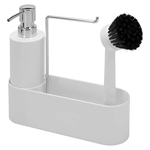 bremermann Spülbecken-Set // Spülutensilienhalter // inkl. Spender 350ml, Spülbürste und Tuchhalter, mit Ersatzbürstenkopf und Pumpe (weiß)
