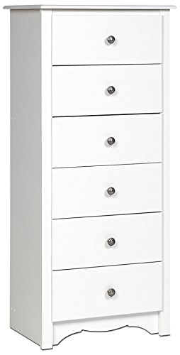 Prepac White Monterey Tall 6 Drawer Chest