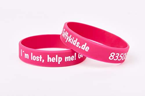 Taffykids Kinder Armband - Kind finden im Handumdrehen - Eindeutige ID - Telefonnummer tauschbar - Wasserfest - Tiefgeprägt - Notfallarmband - Sicherheitsarmband - SMS Nachricht (pink, 160mm)