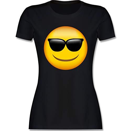 Comic Shirts - Emoticon Sonnenbrille - L - Schwarz - Comic Tshirt Damen - L191 - Tailliertes Tshirt für Damen und Frauen T-Shirt