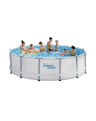 SUMMER WAVES 14ft Elite Frame Pool with Filter Pump, Cover, and Ladder