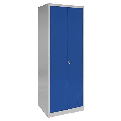 Spind Schließfachschrank Metallschrank Mehrzweckschrank Umkleideschrank Garderobenschrank ; Grau-Dunkelblau/Doppelspind Flügeltüren