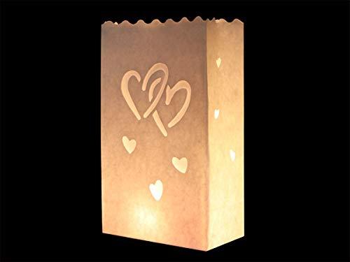 COOLMP Lot de 12 - Lanterne de Jardin Double Coeurs Blanc