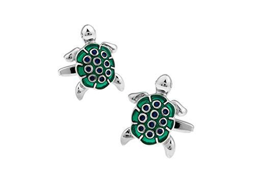 ANAZOZ Herren Manschettenknöpfe Kupfer Manschettenknopf Hemd Schildkröte Elegante Cufflinks Hemdanzug Grün mit Kostenlose Gravur