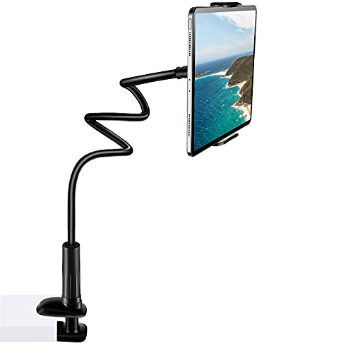 Gooseneck Tablet Stand,SRMATE Tablet Holder with 37inch Flexible Long Lazy Arm Tablet Mount Clamp for iPad Pro 11 Air ,iPhone,Galaxy, Used for Bed,Office,Desk,Kitchen (Black)