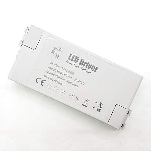 YAYZA! 1-Paquete Transformador de Conductor LED de Bajo Voltaje IP44 24V 2.5A 60W Fuente de Alimentación Conmutada de CA/CC