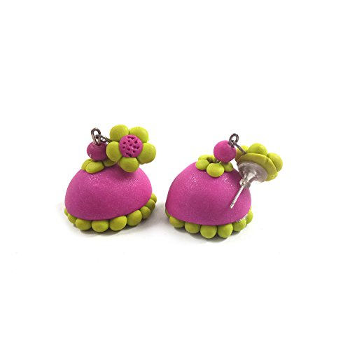India Meets India Fashion Jewelry Handicraft Terracotta Type Jhumki with Stud Polymer Clay Earrings