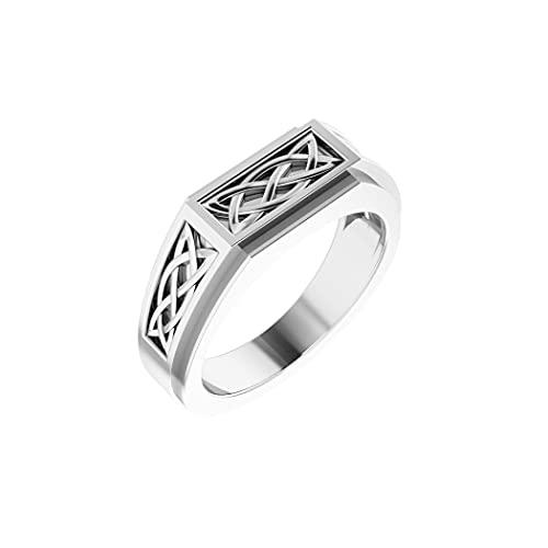 Anillo de plata de ley 925 pulido para hombre irlandés Claddagh celta Trinidad estilo nudo tamaño V 1/2 joyería regalos para hombres