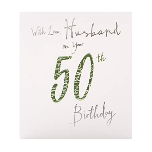 Hallmark Studio Geburtstagskarte zum 50. Geburtstag für Ehemann, geprägtes Textdesign auf strukturiertem Karton