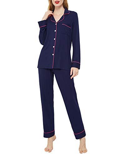Innersy Womens Pajama Sets Classic Button Down Cotton Plus Size Two Piece Pyjama Set(X-Small, Patriot Blue)