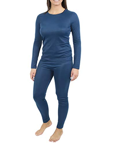 Women's Active Base Layer Thermal Underwear Top and Bottom Set, Teal S